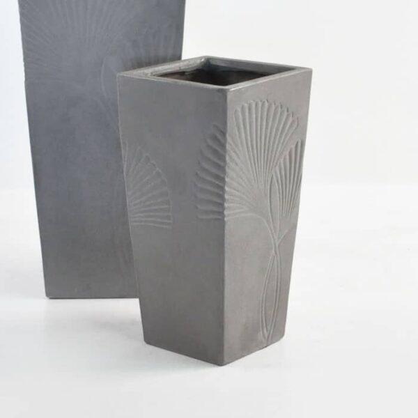 ginko raw concrete planter closeup view