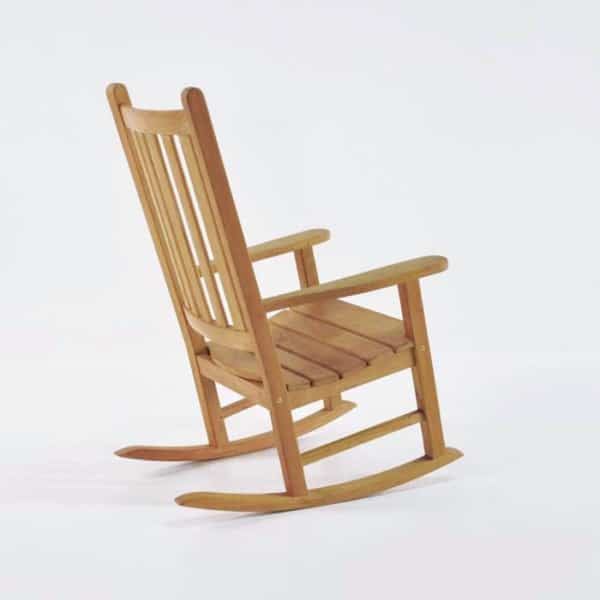granny teak rocking chair back angle view