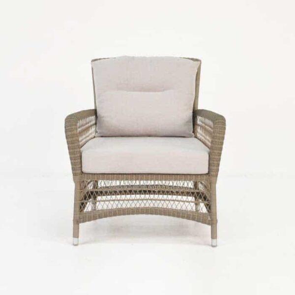 hampton wicker arm chair pebble front view