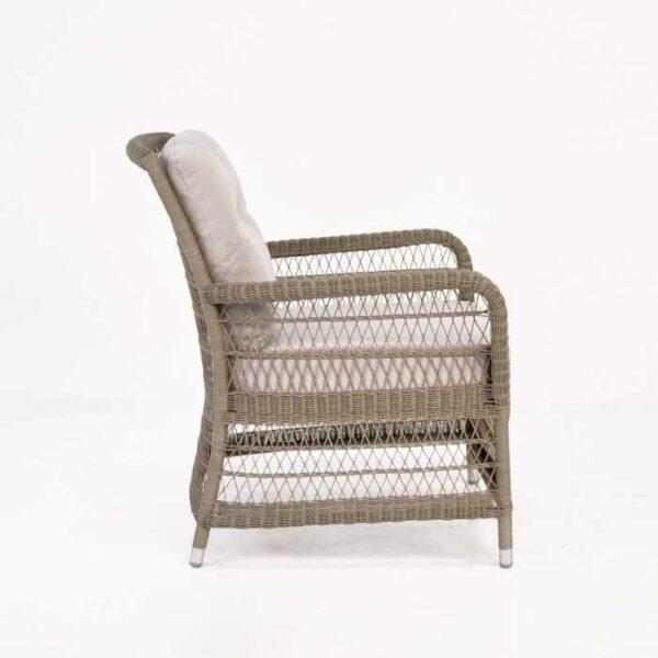 hampton wicker arm chair pebble side view