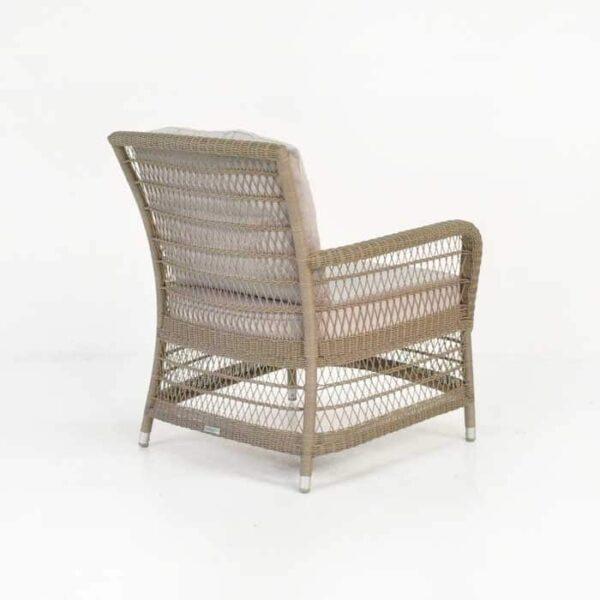 hampton wicker arm chair pebble back angle view