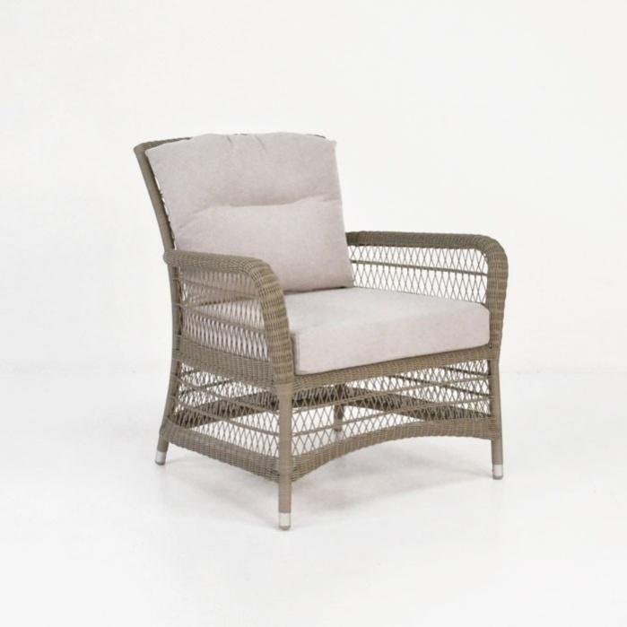Hampton Wicker Relaxing Arm Chair (Pebble)-0