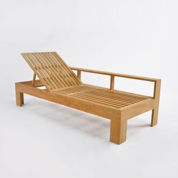 angle - havana teak chaise lounge without cushion