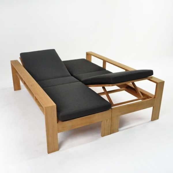havana teak double sun lounger with back up