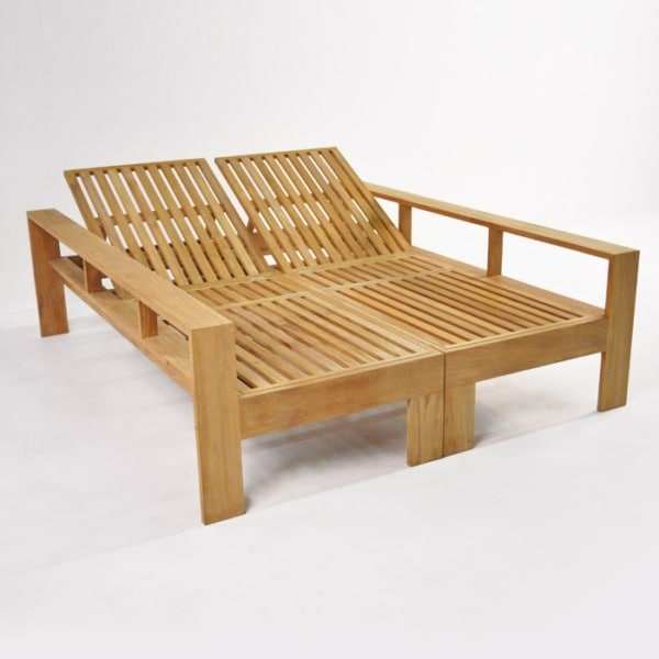 havana teak double sun lounger without cushion