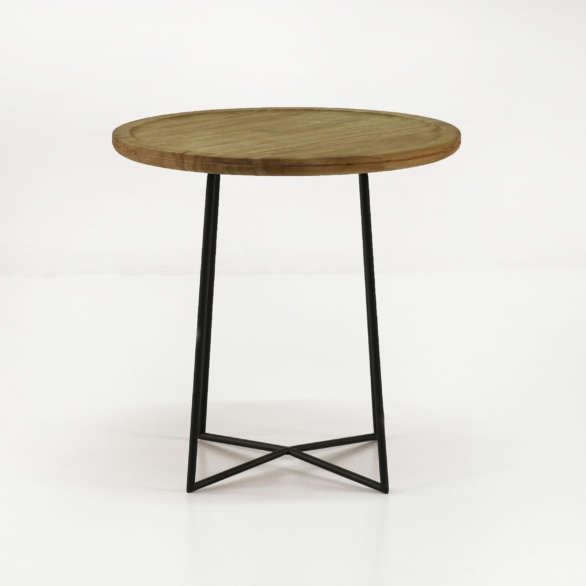 iron reclaimed teak side table
