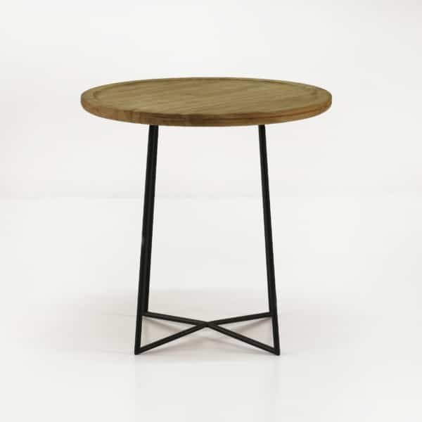 iron reclaimed teak side table