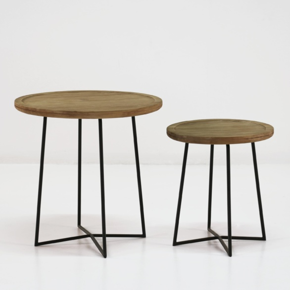 Iron Reclaimed Teak Side Tables-0