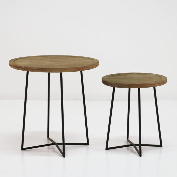 Iron Reclaimed Teak Side Tables 0