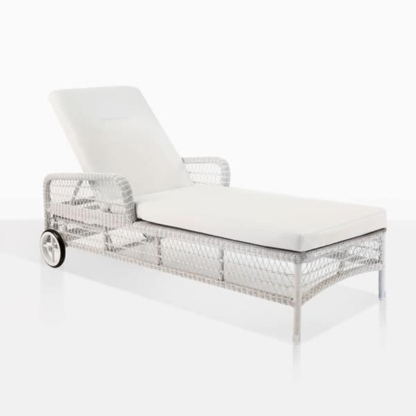 Kennedy White Chaise Lounge With Wheels