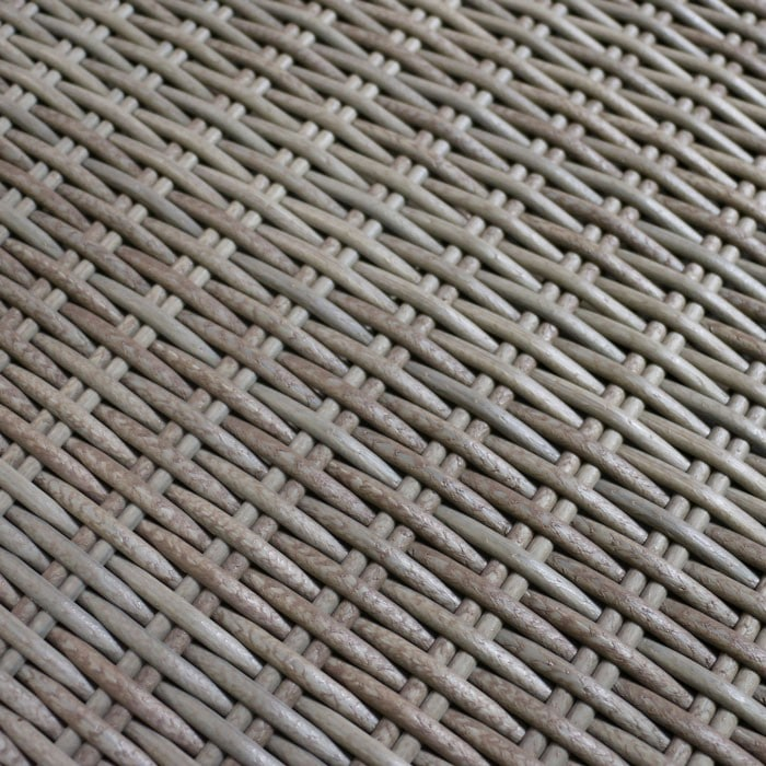 close up of Kubu colored synthetic outdoor wicker fiber