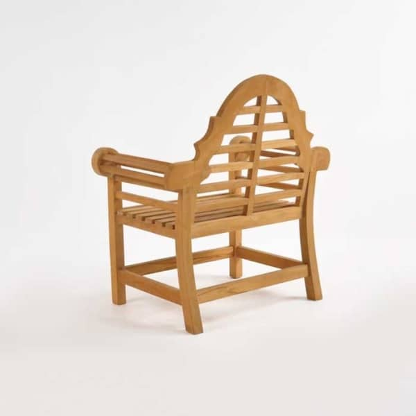 lutyens teak outdoor chair back angle view