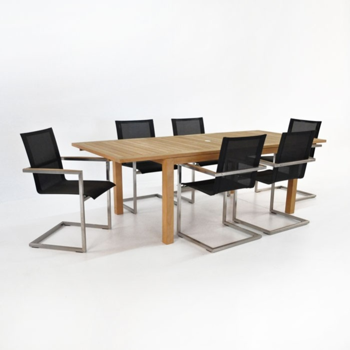 Monaco Outdoor Dining Set | Teak Extension Table w/ 6 Bruno Chairs-0