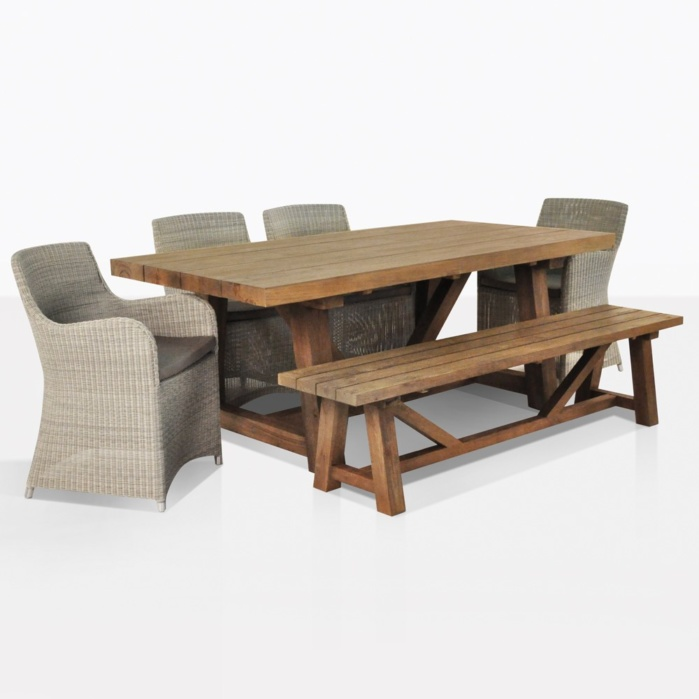 Moni Wicker Chairs And Trestle Dining Set