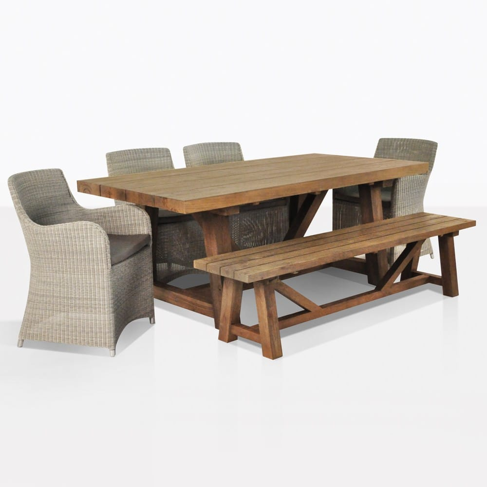 Outdoor Dining Set Reclaimed Teak Trestle Table Bench With 5 Wicker Chairs