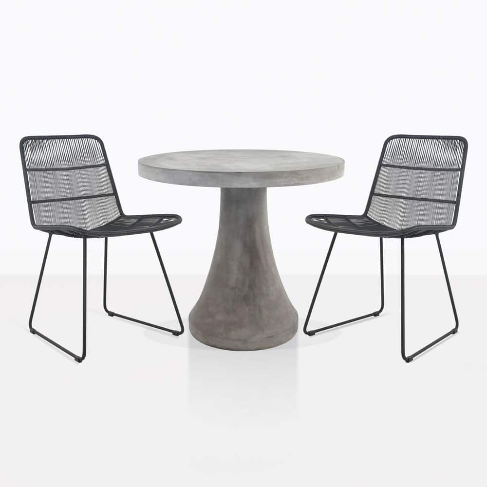 Blok concrete dining set table with 2 nairobi chairs teak warehouse