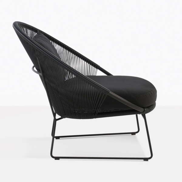 Natalie Black Rounded Relaxing Chair Side View