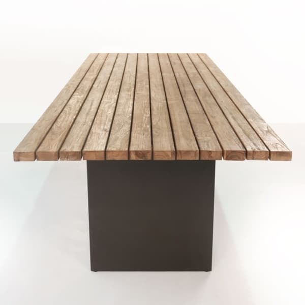 new york reclaimed teak dining table end view