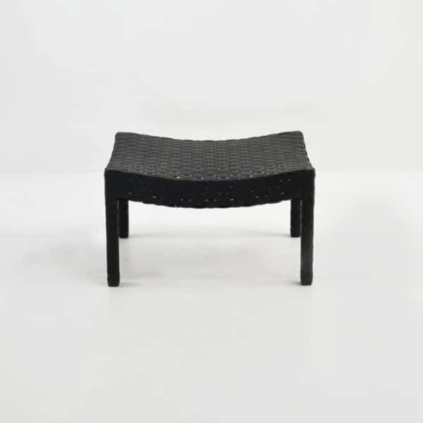 noir outdoor wicker ottoman straight view