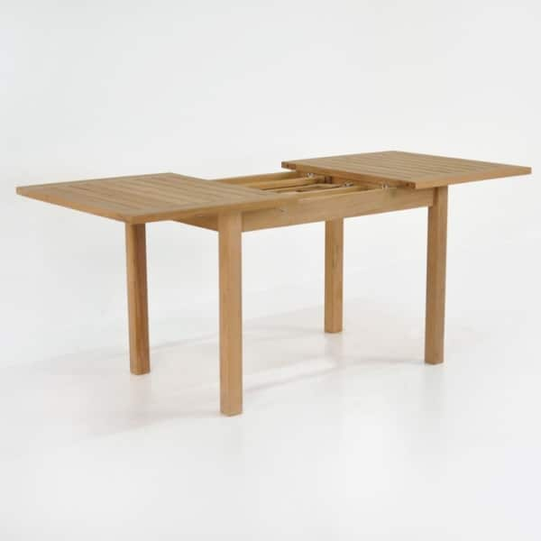 nova rectangle teak extension outdoor dining table extended