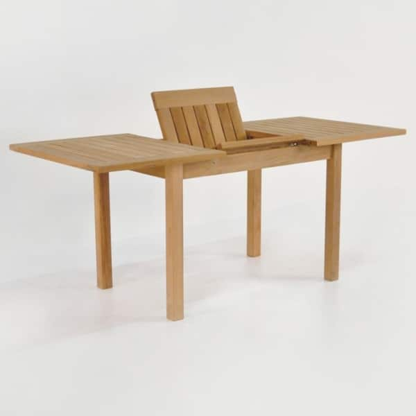 nova rectangle teak extension outdoor dining table opened