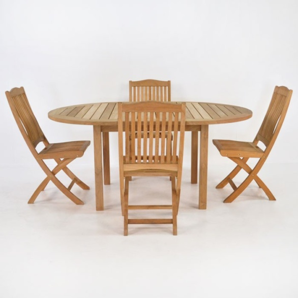Teak Dining Set | Nova Round Teak Table and 4 Chairs-0