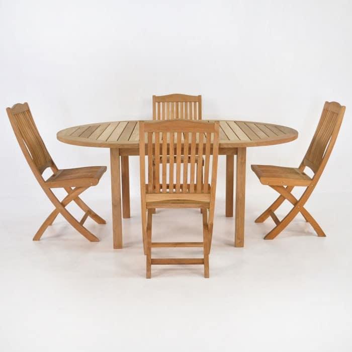 Teak dining set nova round wood cafe table and 4 chairs teak warehouse - Round teak table and chairs ...