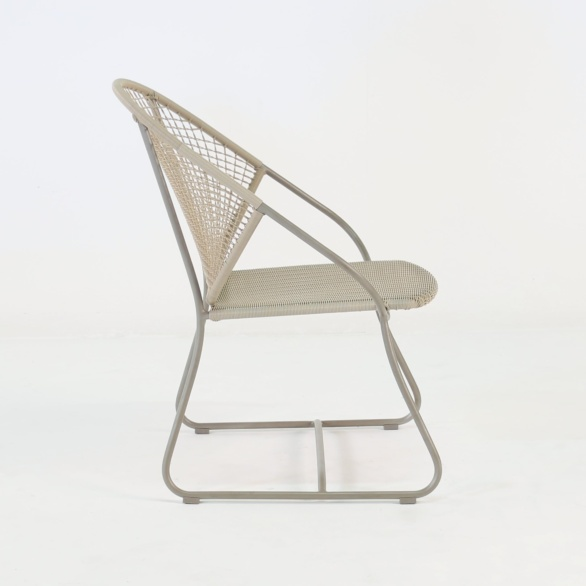 outdoor wicker arm chair side view