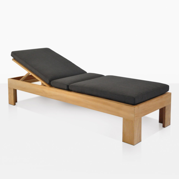 Palm Teak Adjustable Sun Lounger With Cushion