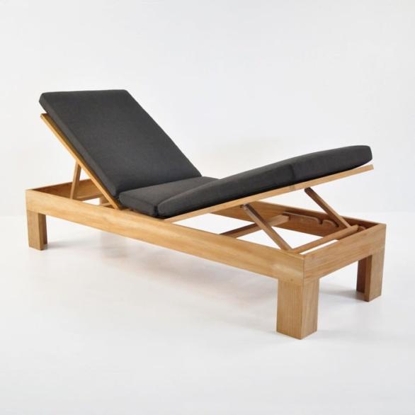 palm teak chaise lounge raised