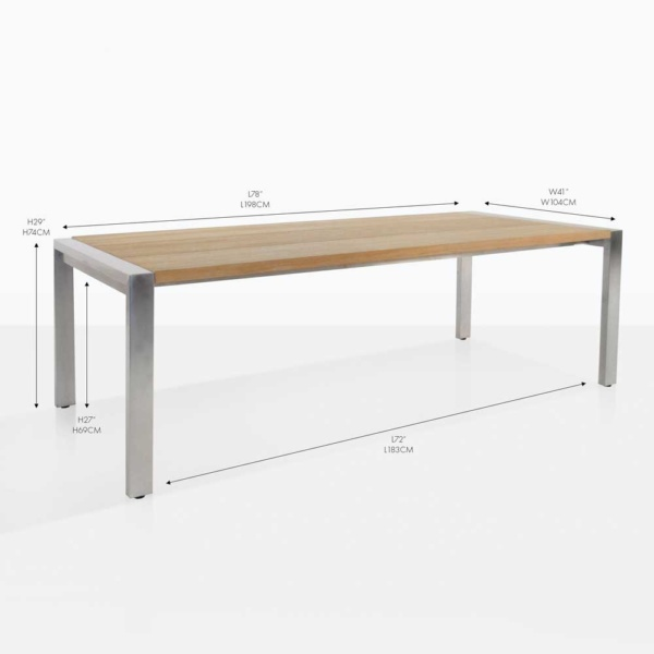 plank teak and steel rectangular dining table