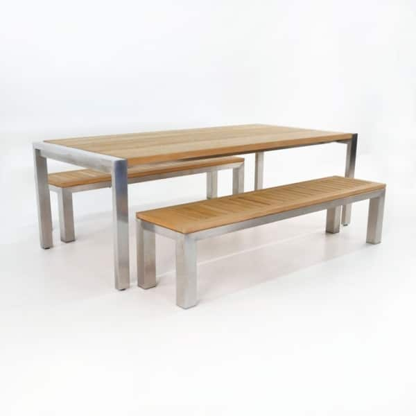Outdoor Dining Set | Stainless Steel and Teak Plank Table and Benches-0