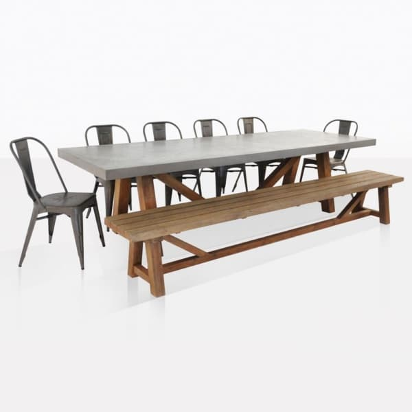 Raw Concrete Trestle And Alix Dining Set