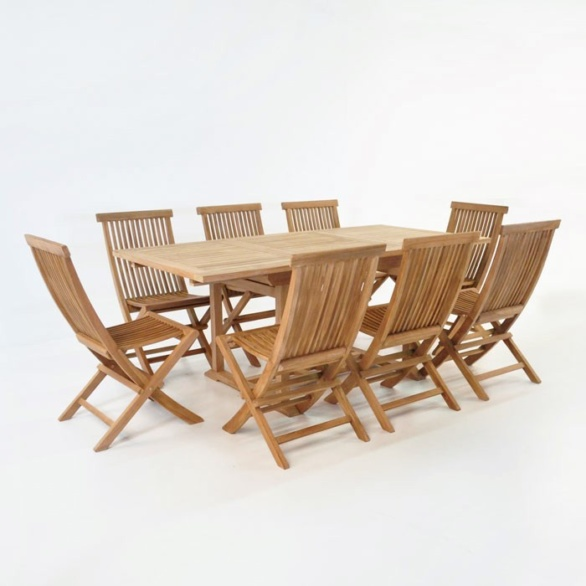 Rectangle Teak Extension Table with 8 Chairs Outdoor Dining Set-0