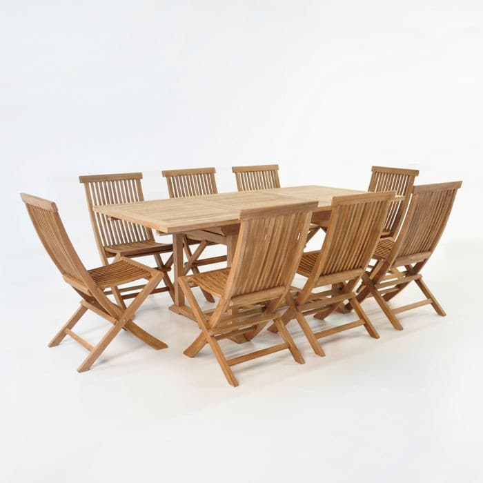 Rectangle Teak Extension Table & Chairs Outdoor Dining Set ...
