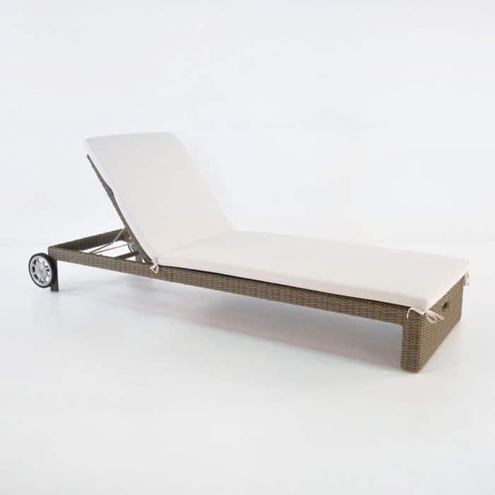 Rocco outdoor wicker chaise lounge kubu teak warehouse for Chaise kubu