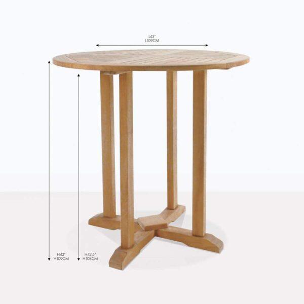 round teak pedestal bar tables