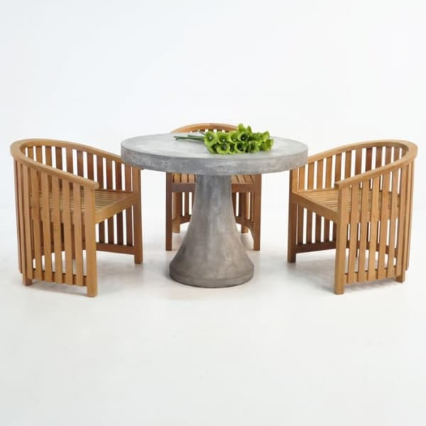Round Concrete Table With Teak Tub Chair Outdoor Dining Set-0