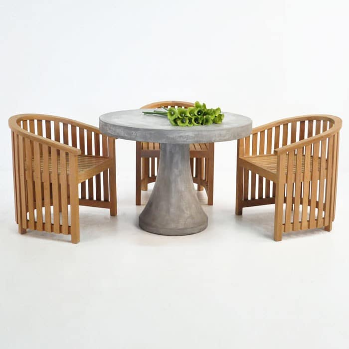 Round Concrete Table W Teak Tub Chair Outdoor Dining Set