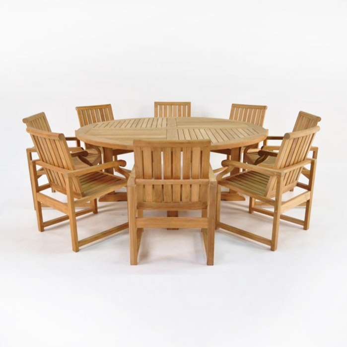 Teak Dining Set Capri Round Teak Dining Table 8 Chairs – 8 Chair Dining Table Sets
