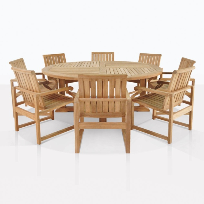 Round Teak Dining Set For 8