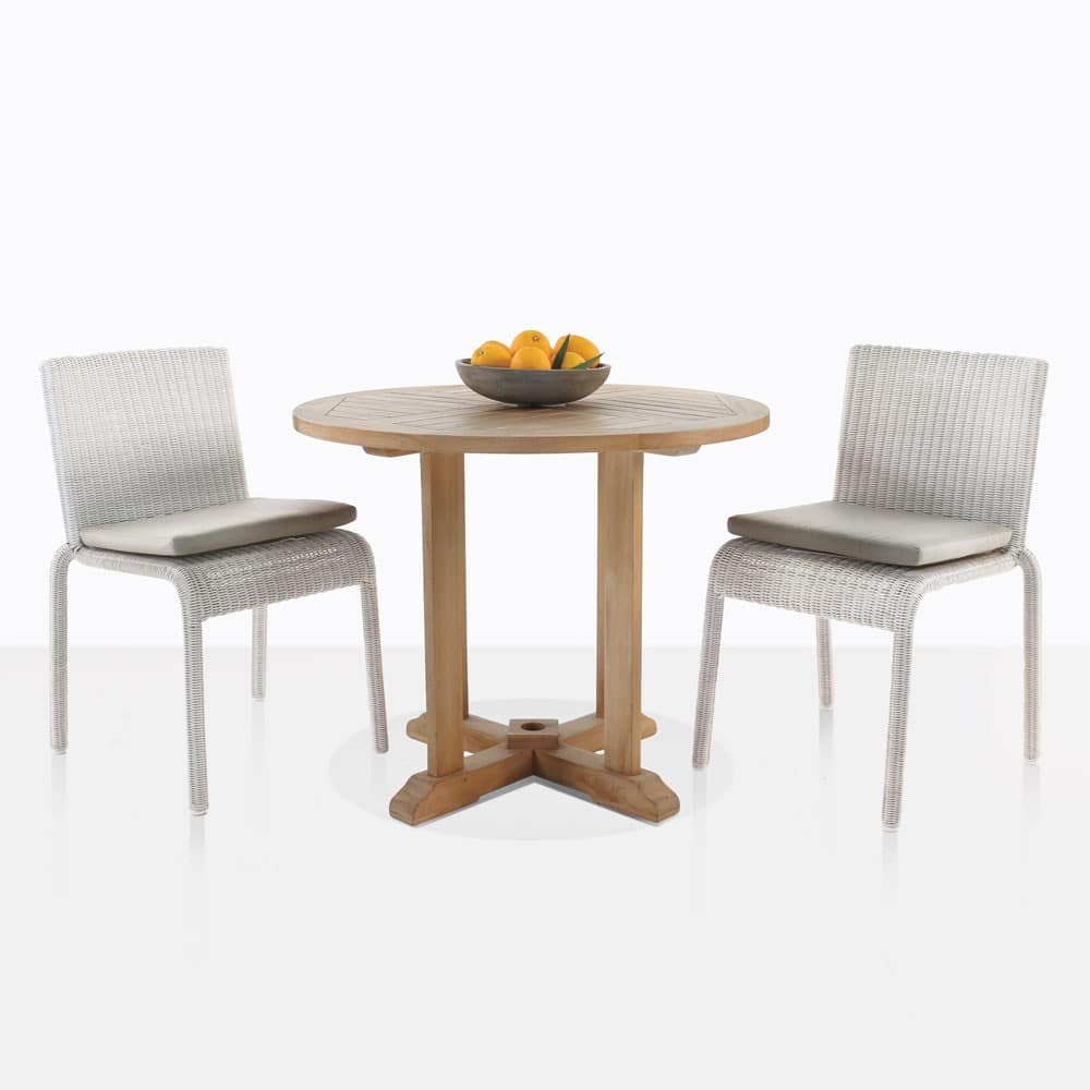 Round Teak Table With Zambezi Chairs Outdoor Dining Set ...