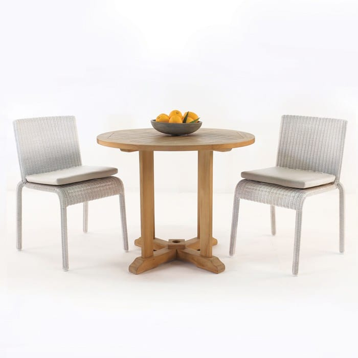 Round teak table with zambezi chairs outdoor dining set teak warehouse - Round teak table and chairs ...