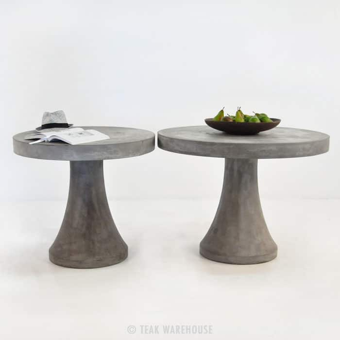 blok round concrete dining tables teak warehouse. Black Bedroom Furniture Sets. Home Design Ideas