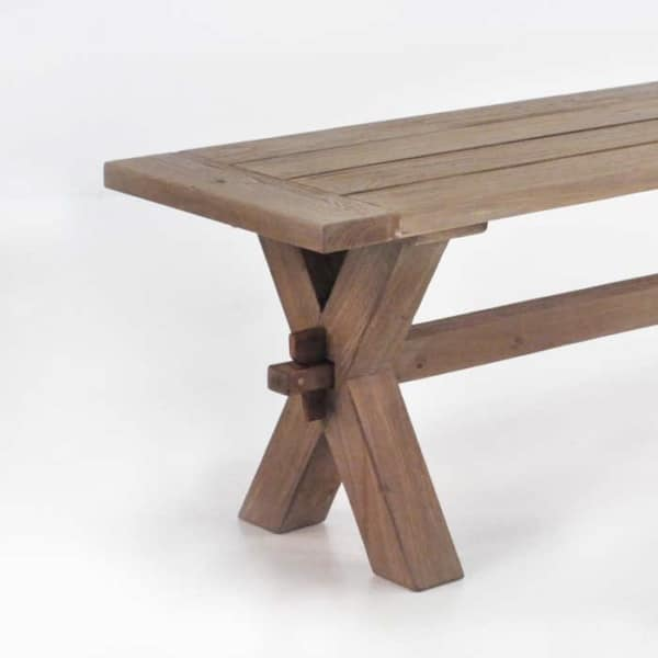 rustic x leg reclaimed teak bench closeup view