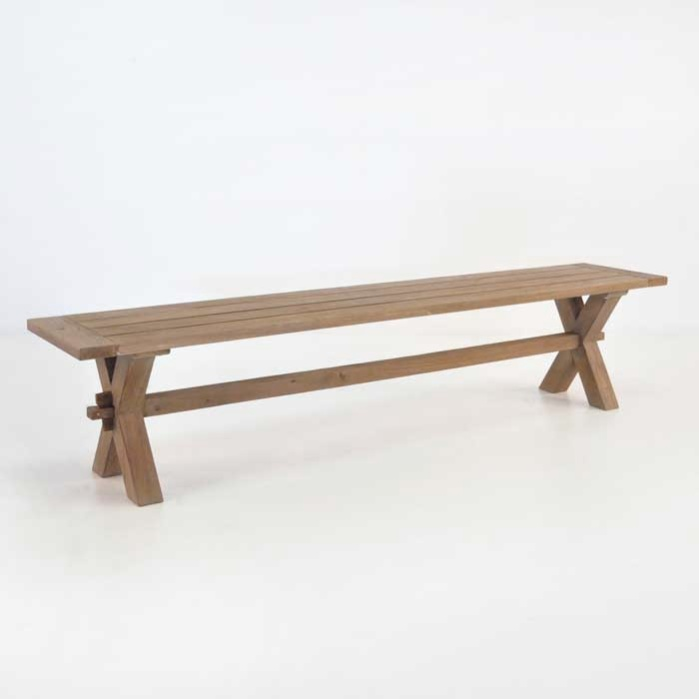 Rustic X Leg Reclaimed Outdoor Teak Benches 0