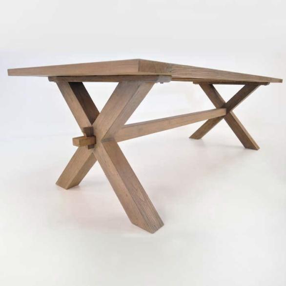 ... Rustic X Leg Teak Dining Table Closeup View. U201c