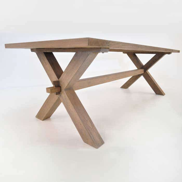 rustic x leg teak dining table dining tables teak