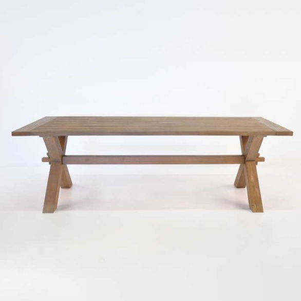 ... Rustic X Leg Teak Dining Table Side View ...
