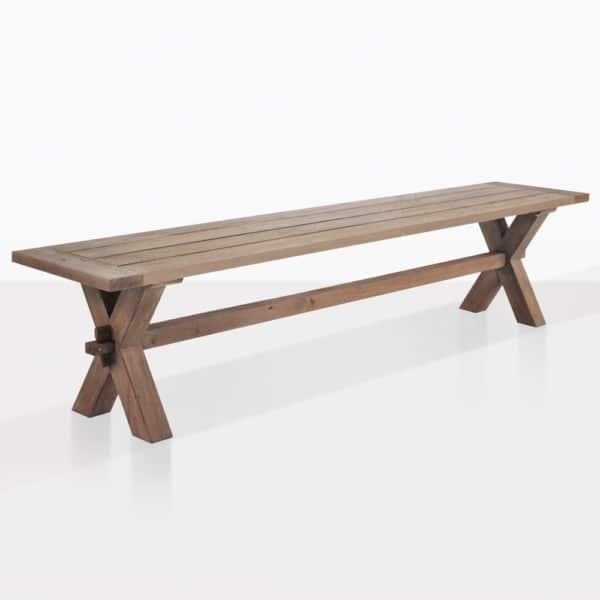 Rustic Teak X Leg Dining Bench